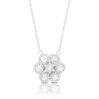 Dolce Giavonna Sterling Silver Cubic Ziconia Flower Design Necklace