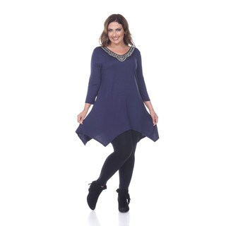 White Mark Women's Plus-size 'Star' Glimmering Embellished Neck Top Tunic