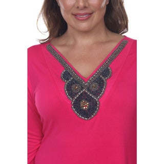 White Mark Women's Plus-size 'Luna' Glimmering Embellished Neck Top Tunic