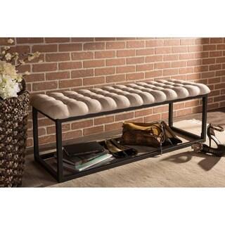 Baxton Studio Zephyr Vintage Industrial Textured Beige Microfiber Tufted Coffee Table Ottoman Bench with Black Metal Legs