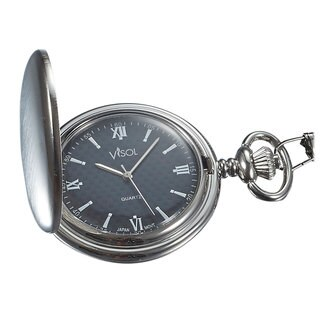 Visol Benson Brushed Chrome Japanese Quartz Pocket Watch
