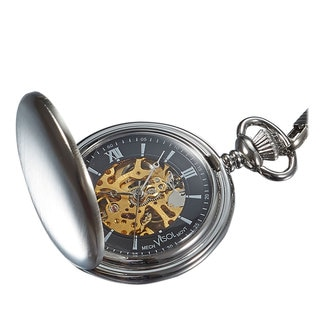 Visol Quincy Brushed Chrome Mechanical Pocket Watch
