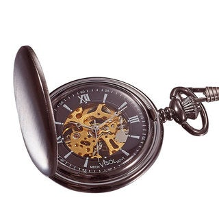 Visol Quincy Brushed Gunmetal Mechanical Pocket Watch