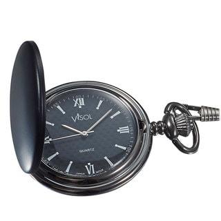 Visol Benson Black Matte Japanese Quartz Pocket Watch
