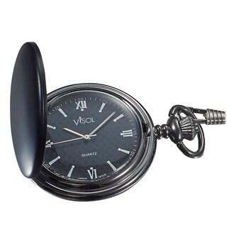Visol Benson Black Matte Japanese Quartz Pocket Watch