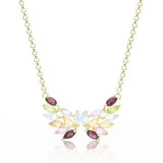 Dolce Giavonna Gold Over Sterling Silver Multi Gemstone Butterfly Design Necklace