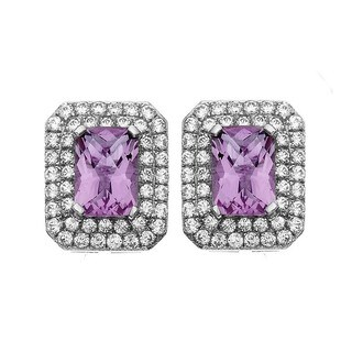Isla Simone Fine Jewelry Platinum Plated Sterling Silver Cushion Cut CZ Earring