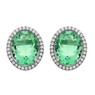 Isla Simone Fine Jewelry Platinum Plated Sterling Silver Oval Single CZ Earring
