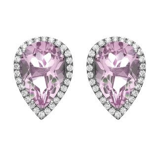 Isla Simone Fine Jewelry Platinum Plated Silver Tear Drop CZ Earring
