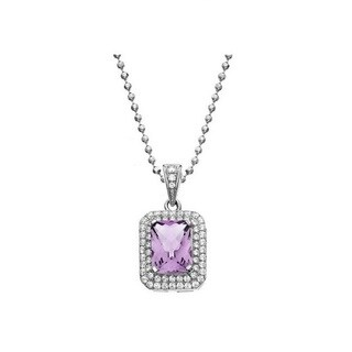 Isla Simone Fine Jewelry Platinum Plated Sterling Silver Cushion Cut Pave CZ Necklace