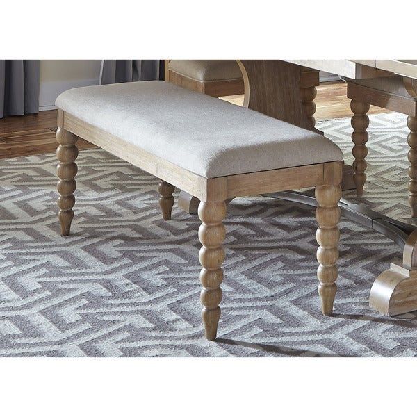 Cottage Harbor Sand Linen Upholstered Dining Bench