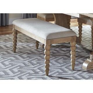 Cottage Harbor Sand Linen Upholstered Dining Bench