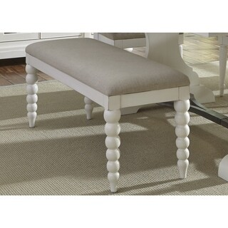Cottage Harbor White and Linen Upholstered Bench