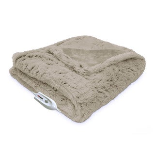 Serta Electric Heated Warming Plush Faux Fur Throw with Four Heat Settings