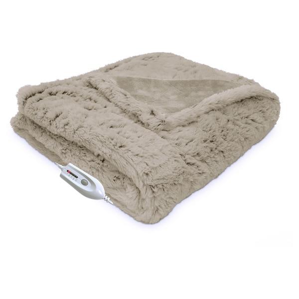 Serta Electric Heated Warming Plush Faux Fur Throw with Four Heat Settings