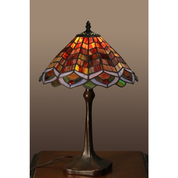 brysen 1 light red tiffany style 12 inch table lamp free shipping. Black Bedroom Furniture Sets. Home Design Ideas
