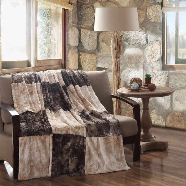 "Fur Blocks Faux Fur Throw (50""x60"") by Field & Stream"