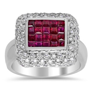 14k White Gold 5/8ct TDW Diamond and 1ct TGW Ruby Ring (F-G, SI1-SI2)