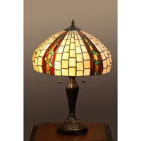 Augustine 2-light Off-white Tiffany-style 16-inch Table Lamp