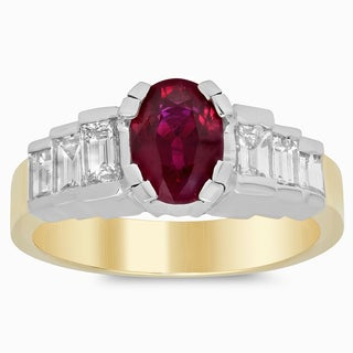 14k Two-tone Gold 7/8ct TDW Diamond and 1 3/4ct TGW Ruby Ring