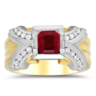 14k Two-tone Gold 1/3ct TDW Diamond and 1 1/3ct TGW Ruby Ring