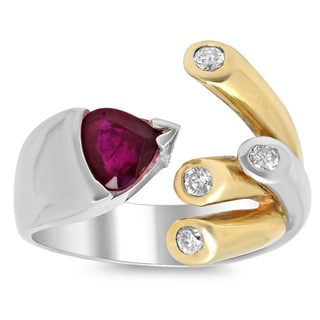 14k Two-tone Gold 1/4ct TDW Diamond and 1 1/10ct TGW Ruby Ring