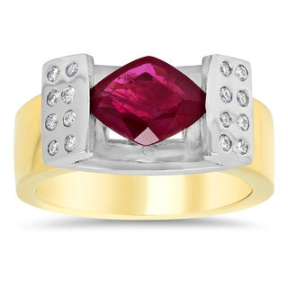 14k Two-tone Gold 1/5ct TDW Diamond and 1 7/8ct TGW Ruby Ring