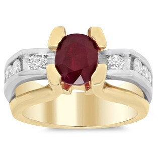 14k Two-tone Gold 4/5ct TDW Diamond and 2 1/3ct TGW Ruby Ring