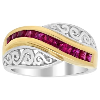 14k Two-tone Gold 3/4ct TGW Ruby Ring