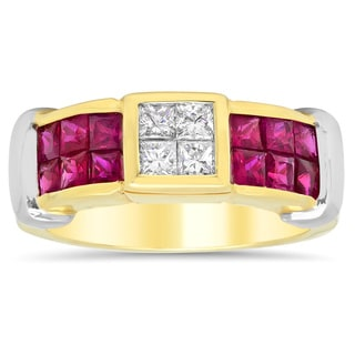 14k Two-tone Gold 2/5ct TDW Diamond and 1 1/2ct TGW Ruby Ring