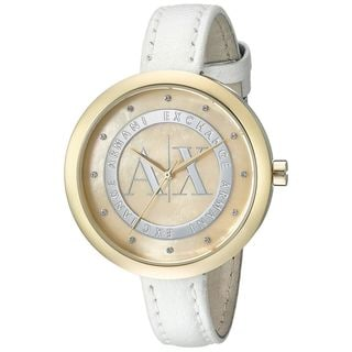 Armani Exchange Women's AX4227 'Jullietta' Crystal White Leather Watch