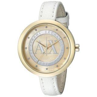 Armani Exchange Women's AX4227 'Jullietta' Crystal White Leather Watch