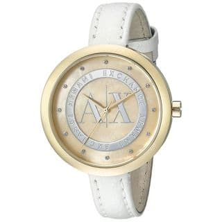Armani Exchange Women's AX4227 'Jullietta' Crystal White Leather Watch|https://ak1.ostkcdn.com/images/products/10642548/P17710210.jpg?impolicy=medium