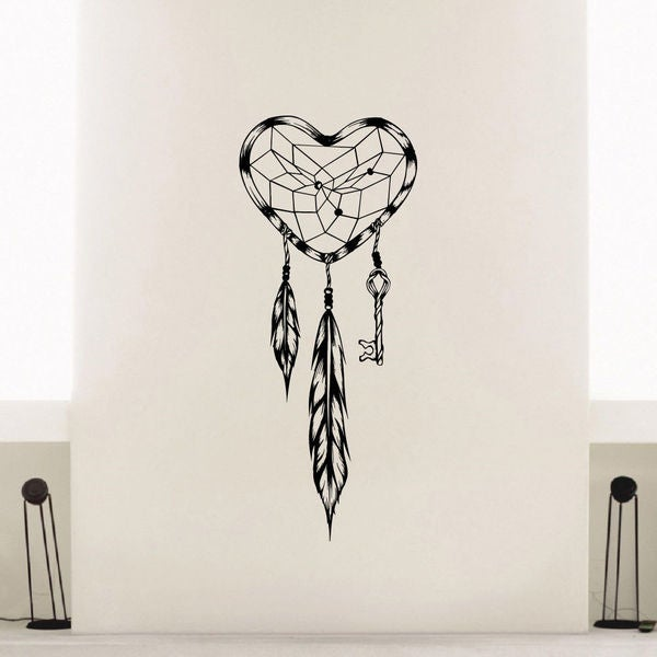 Shop Heart Shaped Dreamcatcher Vinyl Wall Art Decal