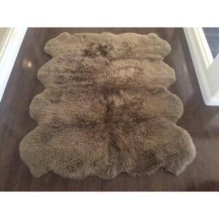 Tribeca Luxurious Faux Sheepskin Oval Shape Camel Shag Area Rug - 4' x 6' Oval