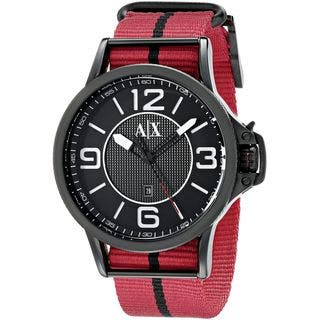 Armani Exchange Men's AX1582 'Street' Red Cloth Watch|https://ak1.ostkcdn.com/images/products/10642678/P17710313.jpg?impolicy=medium