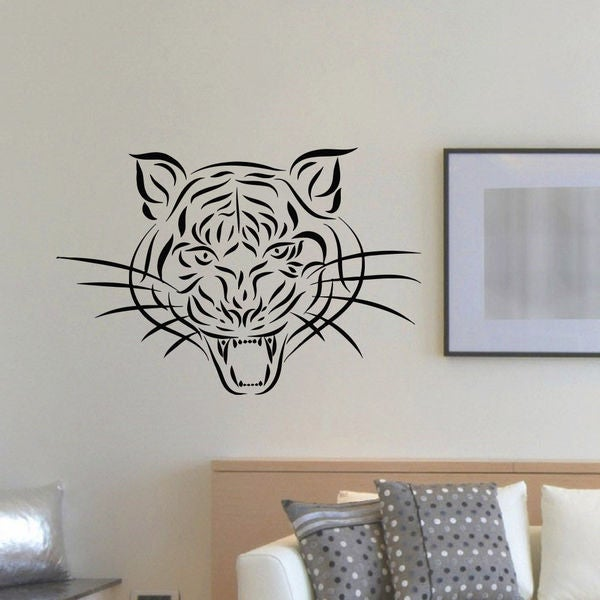 Tribal Tiger Head Vinyl Wall Art Decal Sticker