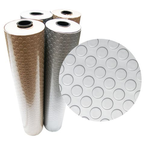 """Rubber-Cal """"Coin-Grip (Metallic)"""" PVC Flooring - 2.5mm x 4ft. Wide - Beige or Silver - Available in 10 Lengths"""