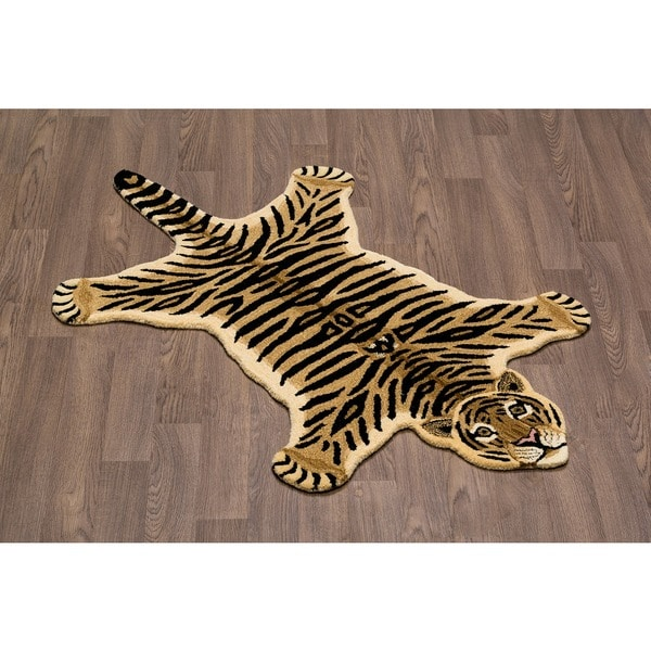 Shop Hand-tufted Tiger Skin Shape Wool Rug