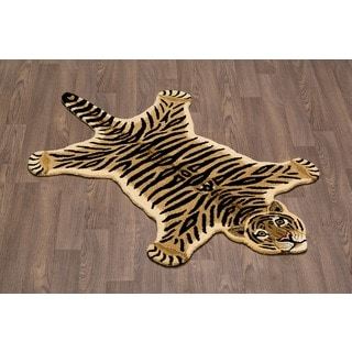 Hand-tufted Tiger Skin Shape Wool Rug (3' x 5')