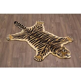 Hand-tufted Tiger Skin Shape Wool Rug (3' x 5')
