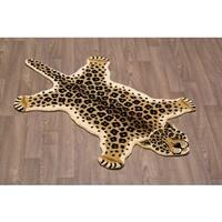 Hand-Tufted Leopard Skin Shape Wool Rug - 3' x 5'