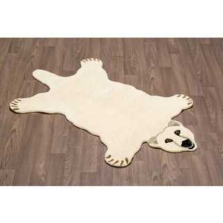 Hand-tufted Polar Bear Shaped Wool Rug (3' x 5')
