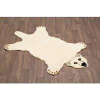 Hand-tufted Polar Bear Shaped Wool Rug - 3' x 5'
