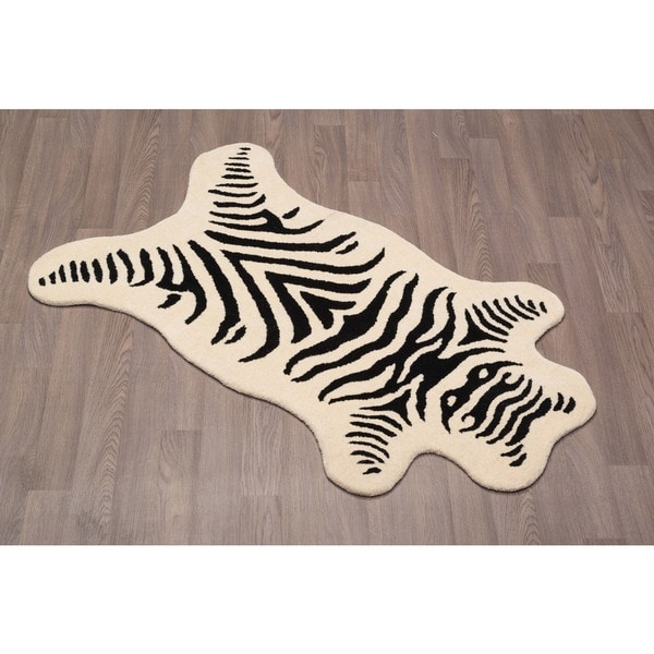 Shop Zebra Wool Rug Natural