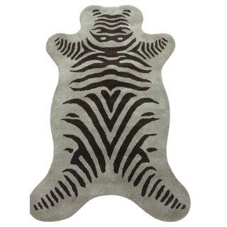 Zebra Wool Rug Olive Brown (3' x 5')