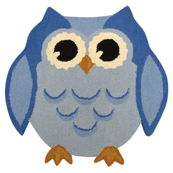 Hootie Patootie Owl Rug Blue (3' X 3')