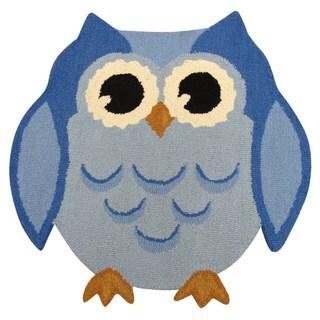 Hootie Patootie Owl RugBlue (3' x 3')
