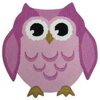 Hand-tufted Hootie Patootie Pink Wool Owl Rug (3' x 3')