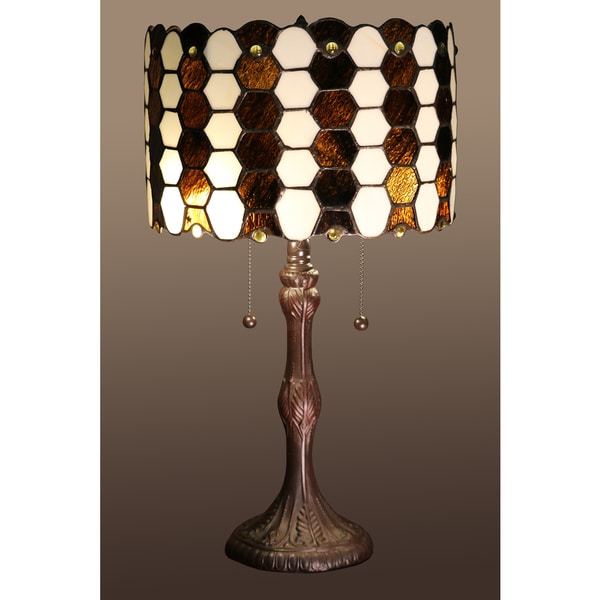 Shop Kohen 2 Light Brown And White Tiffany Style 12 Inch Table Lamp